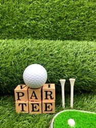 Golf Par tee are on green grass