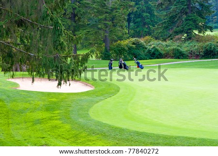 Golf place with nice green and sand bunker.