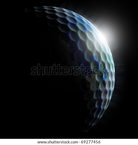 golf planet - golf ball textured planet with sun rising