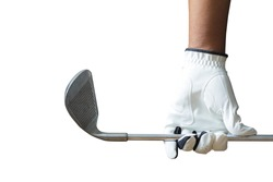 Golf player holding a golf club on a white background