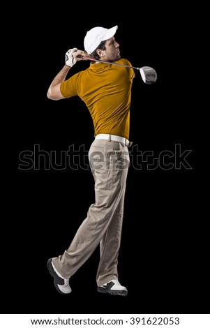 Golf Player in a orange shirt taking a swing, on a black Background.