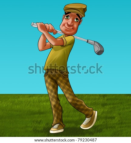 golf player in the field he hascharacteristic clothes
