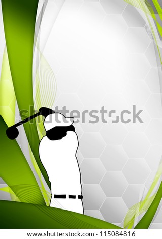 Golf poster: golfer shooting background with space