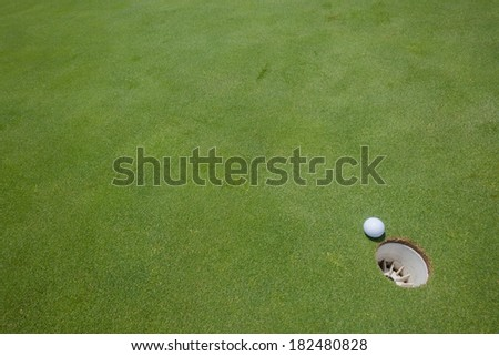 Golf Putting Green Ball Hole Golf putting green with ball hole next to hole