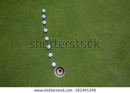 Golf Putting Green Balls Hole Golf putting green for practice balls tracking line to hole