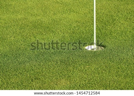 Golf putting green showing smooth green grass, the white cup or hole and a pin standing erect.