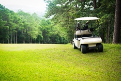 Golf sport concept, golf cart on fairway in golf course and beautiful fairway and layout. Equipment in bag on cart on meadow. Tree around fairway on field meadow on mountain.