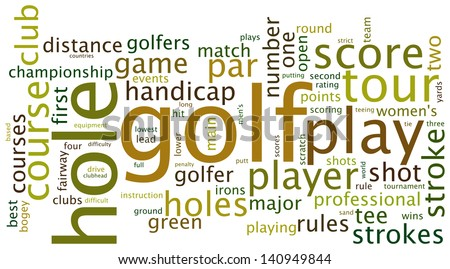 Golf sports based terms word cloud tags