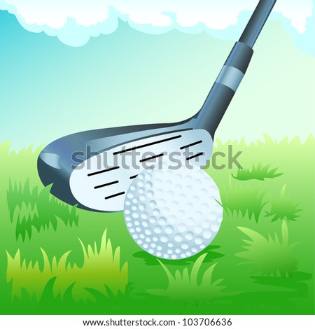golf stick and the ball on grass and blue sky background