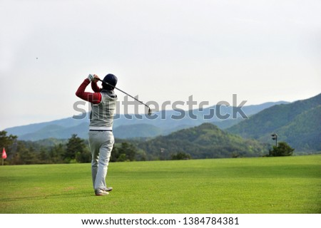 Golf swing of a Korean golfer