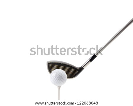 Golf tee off on white, clipping path