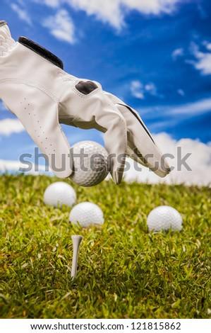 Golf theme with sport stuff