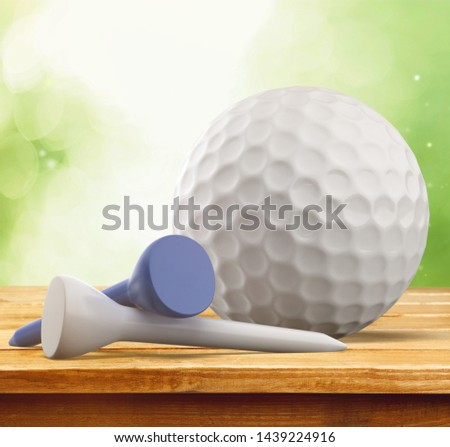 Golf white Ball and Tees on abstract background