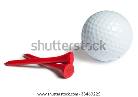 Golfball and red tee. white background