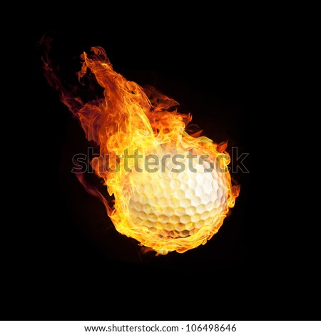 Golfball on Fire or Burning Golfball 3D on black