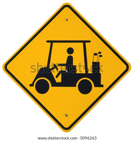 Golfer Crossing warning sign