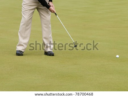 Golfer on the  Putting green Background closeup