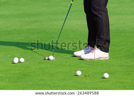 golfer putting a golf ball in to hole.