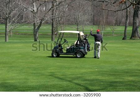 golfer putting golf-club in bag on golf-cart