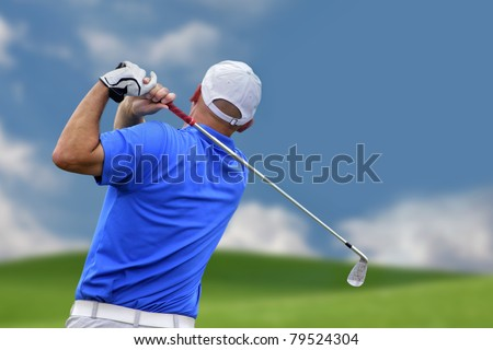 golfer shooting a golf ball