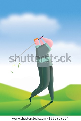 Golfer teeing off in afternoon light illustration.