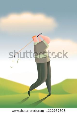 Golfer teeing off in evening light illustration.
