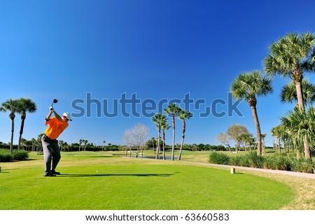 golfer teeing off on beautiful florida course