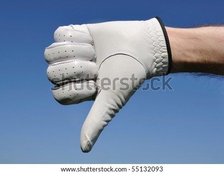 Golfer Wearing Golf Glove Giving Thumbs Down Sign