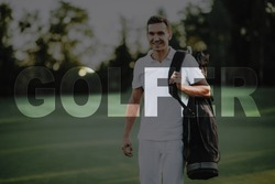 Golfer with Baggage of Clubs. Happy Man Leaves a Gulf Course. Player Came to the Gold Meadow. Summer Weekend. Player Carries a Golf Clubs Set. Luxury Active Recreation. Elite Sports. Transparent Text.