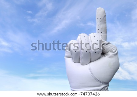 Golfer with Golf Glove Doing Number One Sign