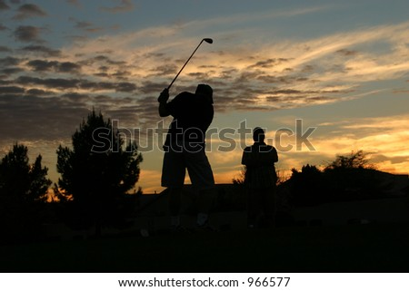 Golfing at Sunset