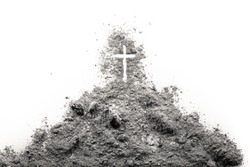 Golgota hill with Jesus cross made of ash as christian religion, Ash Wednesday, Good Friday, Easter or Lent concept illustration