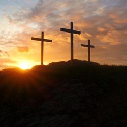 Golgota, Place of Jesus' crucifixion. Empty cross, Resurrection. Easter, third day.