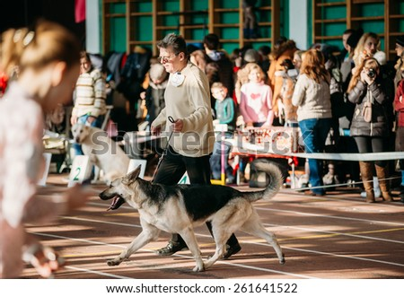 GOMEL, BELARUS - FEBRUARY 1, 2015: People and dogs visit Palace athletics exhibition  -International dog show, important event dedicated to dogs and their owners.