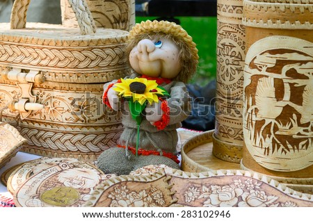 GOMEL, BELARUS - MAY 22, 2015: Outdoor event City of Masters. The exhibition and sale of products from birch bark and toys souvenirs