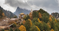 Gompa above the Lho village. On Manaslu circuit with around Mount Manaslu 8 156 meters. Himalayas, sunny day at Manaslu Glacier in Gorkha District in northern-central Nepal