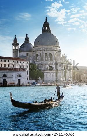 Gondola and Basilica Santa Maria della Salute, Venice, Italy #291176966