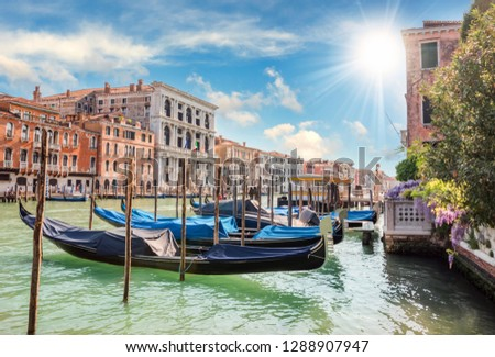 Gondola in the canals of Venice #1288907947