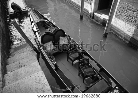 Gondola near steps - Venice, Italy. Duotone.