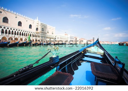 Gondola nose on water, Venice channel, Italy