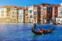 Gondola on Canal Grande with Classic old house in the background, Venice, Italy