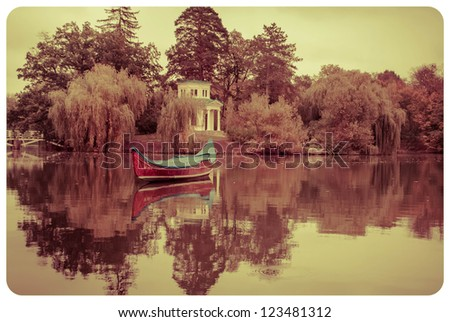 gondola on the lake. vintage composition