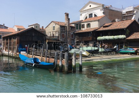 Gondola repair yard near the Grand Canal in Venice