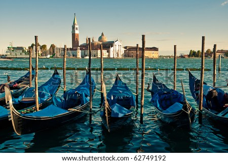 Gondolas anchored on Grand Canal in Venice