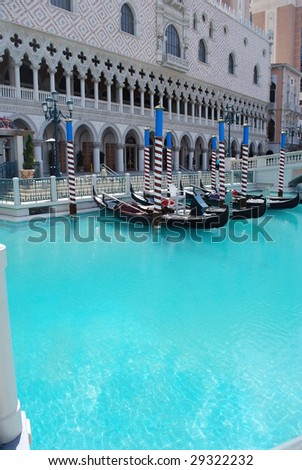gondolas and architecture at the venetian in las vegas