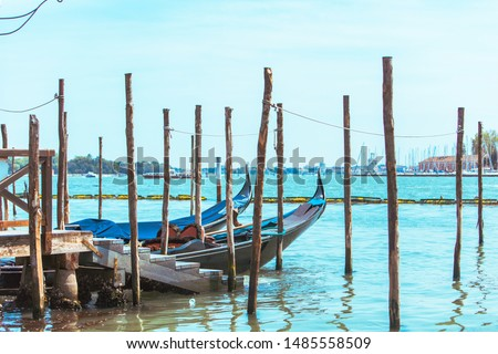 gondolas boats in bay of venice city famous travel place