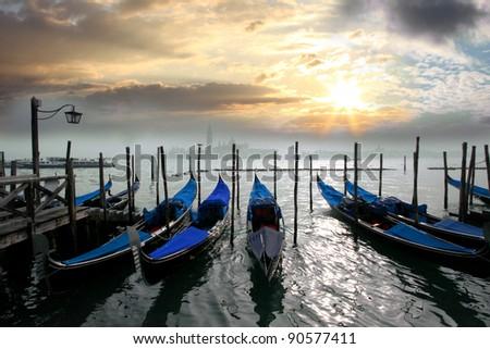 Gondolas in the evening, Venice, Italy