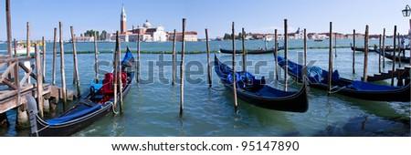 Gondolas in Venice at Piazza San Marco with San Giorgio in the background