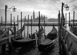 Gondolas in Venice, black and white