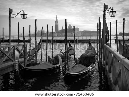 Gondolas in Venice, black and white